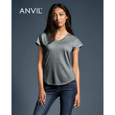 Anvil Women`s Tri-Blend V-Neck Tee Colours 6750VL_COLOURS_GILD