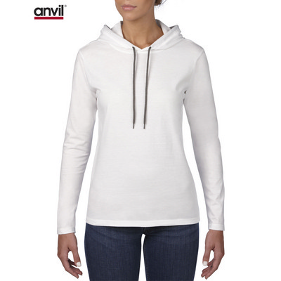 Anvil Women`s Lightweight Long Sleeve Hooded Tee White  887L_WHITE_GILD