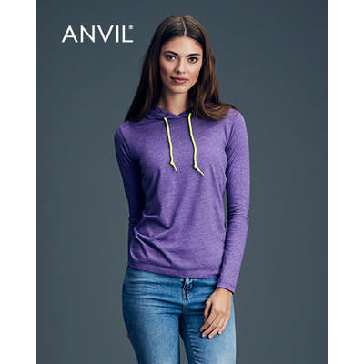 Anvil Women`s Lightweight Long Sleeve Hooded Tee Colours 887L_COLOURS_GILD