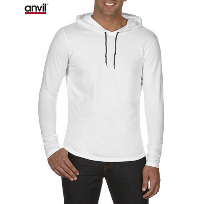 Anvil Adult Lightweight Long Sleeve Hooded Tee White 987_WHITE_GILD