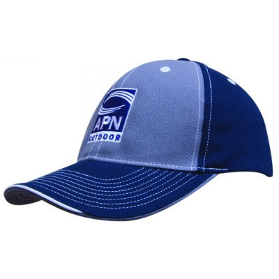 6 Panel Brushed Heavy Cotton 2 Tone Cap With Contrast Stitching And Open Lip Sandwich 4053_HDW
