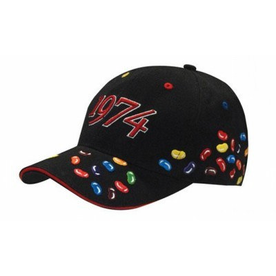 6 Panel Brushed Heavy Cotton Cap With Jelly Beans Embroidery 4119_HDW