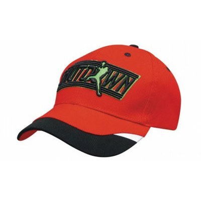 6 Panel Heavy Brushed Cotton Cap With Peak Inserts  Printed Trim 4125_HDW