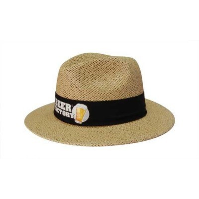 Natural Madrid Style String Straw Hat With Material Under Brim S4285_HDW