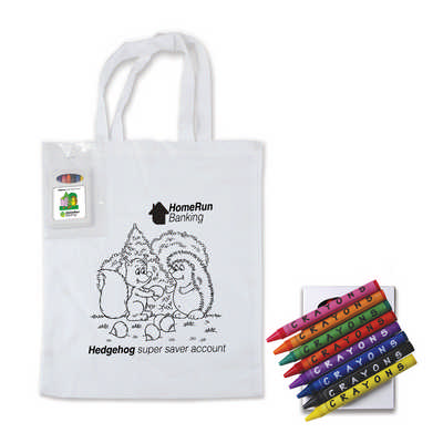 Colouring Short Handle Cotton Bag & Crayons LL5520_LL
