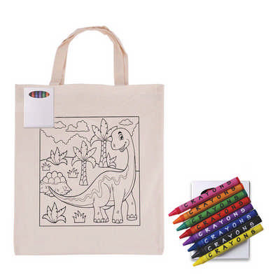 Colouring Short Handle Calico Bag & Crayons LL5522_LL