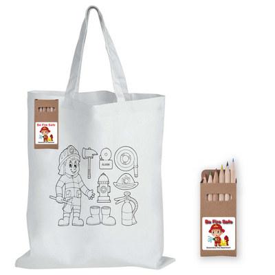 Colouring Short Handle Cotton Bag & Pencils LL5523_LL