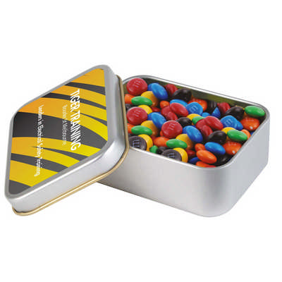 M&M s in Silver Rectangular Tin - (printed with 1 colour(s)) LL33016_LLPRINT