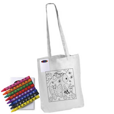 Colouring Long Handle Cotton Bag & Crayons - (printed with 1 colour(s)) LL5521_LLPRINT