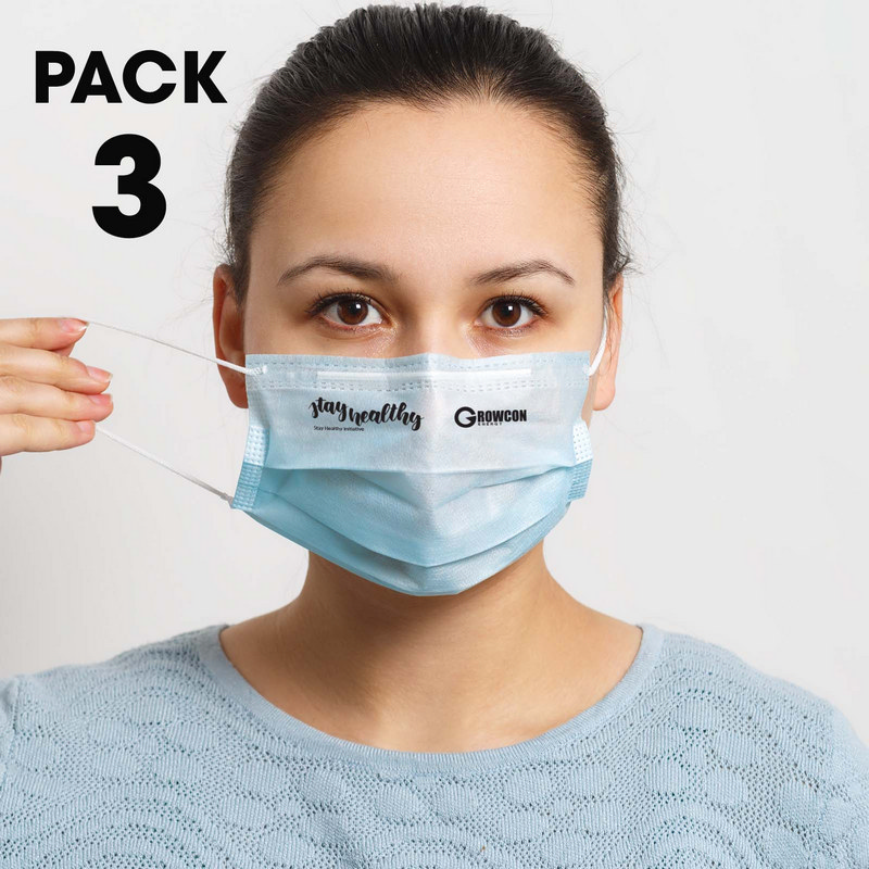 3 Pack - Disposable Face Masks  - (printed with 1 colour(s)) LL8887_LLPRINT