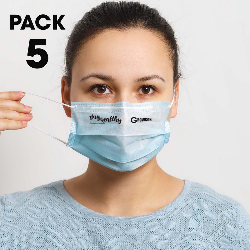 5 Pack - Disposable Face Masks  - (printed with 1 colour(s)) LL8889_LLPRINT