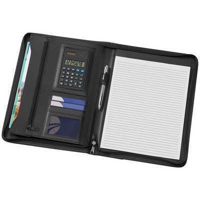 A4 Phoenix Zippered Compendium with Solar Calculator 9206BK_NOTT