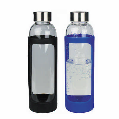 Sleeve Glass Drink Bottle With Stainless Steel Lid - (printed with 1 colour(s)) 4198_RNG_DEC