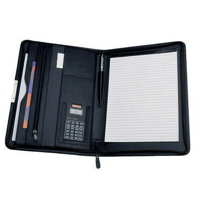 A4 Portfolio with Solar Calculator - (printed with 1 colour(s)) 572BK_RNG_DEC