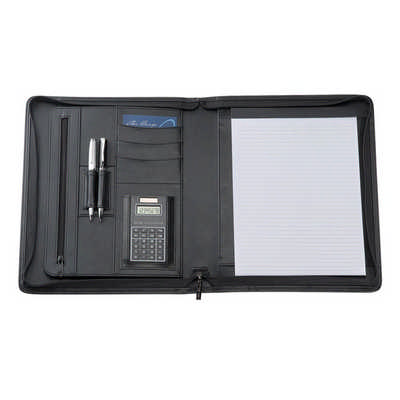 A4 Bonded Leather Compendium - (printed with 1 colour(s)) 9187BK_RNG_DEC