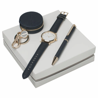 Cacharel Set Bagatelle Bleu (ballpoint Pen, Key Ring & Watch) - (printed with 1 colour(s)) CPBKN636N_ORSO_DEC