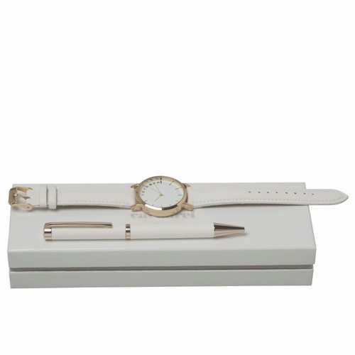 Cacharel Set Bagatelle Blanc (ballpoint Pen & Watch) - (printed with 1 colour(s)) CPBN636F_ORSO_DEC