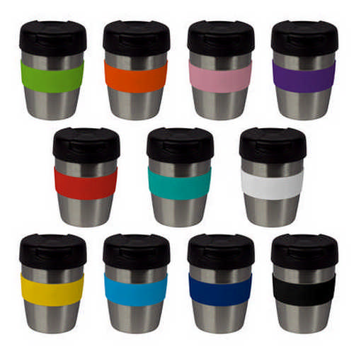 8oz235ml Stainless Steel Karma Kup Plastic Flip Lid - (printed with 1 colour(s)) G1899_ORSO_DEC