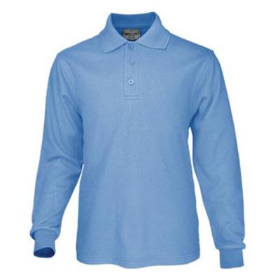 Kids Plain Colour Poly Face Cotton Backing Ls Polo CP1605_BOC