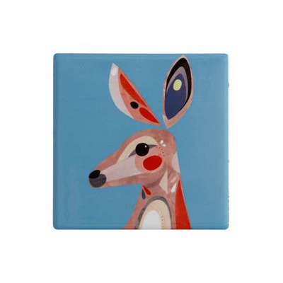 Maxwell & Williams Pete Cromer Ceramic Square Tile Coaster 9.5cm Kangaroo DU0094_PPI