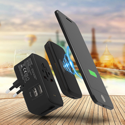 Portici Travel Adaptor With Fast Wireless Charger - (printed with 1 colour(s)) AR895_PROMOITS