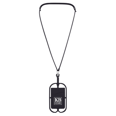 SILICONE LANYARD WITH PHONE HOLDER & WALLET - (printed with 1 colour(s)) PH228_PS