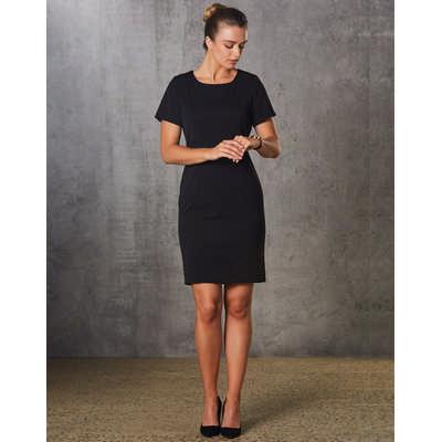 Ladies Polyviscose Stretch, Short Sleeve Dress M9282_WIN