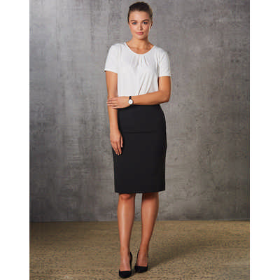 Women Polyviscose Stretch Stripe Mid Length Lined Pencil Skirt M9472_WIN