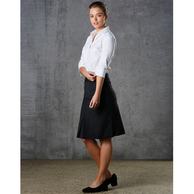 Women Wool Blend Strecth Pleated Skirt M9473_WIN