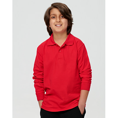 Kids Poly Cottonpique Long Sleeve Polo PS12K_WIN