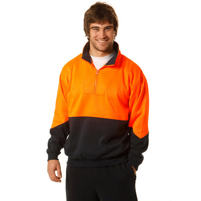Mens High Visibility Long Sleeve Fleecy Sweat With Collar SW13A_WIN