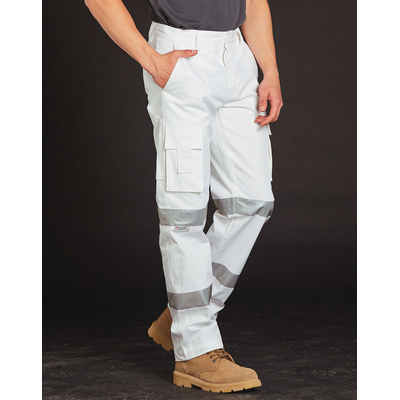 Mens White Safety Pants With Biomotion Tape Configuration WP18HV_WIN